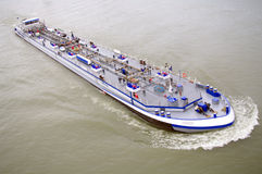 River ship. Ship on water with fuel goods Stock Photo