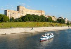 River ship in background of Rostovskaya riverside Royalty Free Stock Photos
