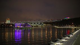 River ship in the evening in the city stock video footage