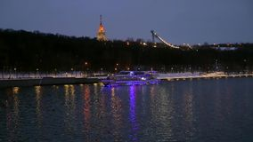 River ship in the evening in the city stock footage
