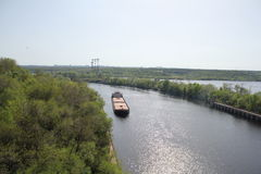 River. Ship floating down the river Stock Photos