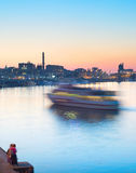 River ship motion blur Royalty Free Stock Photography