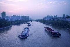 River shipping. Ships sailing on the ancient Chinese Canal Waterway stock images