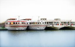 River ships moored Stock Photo