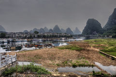 River ships pier on Lijiang River, Yangshuo, Guangxi Province, C Royalty Free Stock Photography
