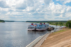 River ships at the pier on the Volga Stock Image