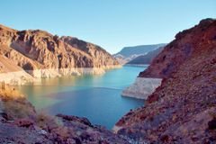 River and Shore. Line around Hoover Dam area stock photos