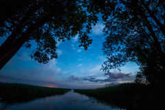 River shore landscape night view Royalty Free Stock Photo