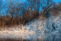 River shore in winter Stock Photography