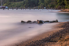 River & Shoreline. A long exposure summer landscape scene of the bay area waterway shoreline and tide Royalty Free Stock Photography
