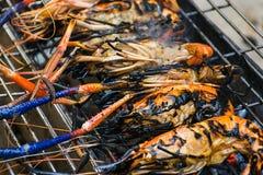 River shrimp burn on the grill Stock Photo