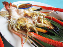 River shrimp grill on big plate Royalty Free Stock Photos