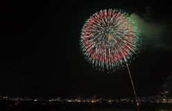 River Side Fireworks Royalty Free Stock Photography