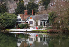 River side House in England inn Winter Stock Photo