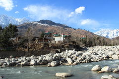 River Side In Manali. A beautifull view of the Beas river from Manali among forested mountains Royalty Free Stock Photos
