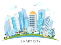 River side smart city arch landscape. River side smart city landscape arranged in arch with skyscrapers, subway, boat. Vector illustration Stock Images