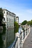 The Sile river in Treviso, Veneto district. Italy stock photo