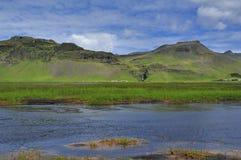 River Skoga, Iceland. River Skoga near waterfall Skogafoss, Iceland Royalty Free Stock Photos