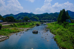 River and sky. Somewhere in Japan with River and sky Royalty Free Stock Photo