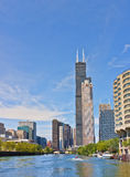 River Skyline, Chicago Illinois. Skyline of the buildings lining the Chicago River in the downtown Chicago business district, on a beautiful day, including the stock images