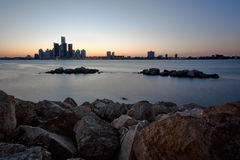 River Skyline Overlooking Detroit, Michigan as. A landscape image of the Detroit River and Detroit, City skyline as seen from Windsor, Ontario Canada Royalty Free Stock Photo