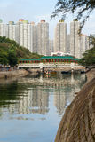 River and skyscrapers in Tai Po New Town, Hong Kong Stock Photography