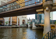 River Skywalk. A pedestrian skywalk that spans the Milwaukee River in downtown Milwaukee, Wisconsin Royalty Free Stock Image