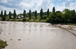 River slimy bottom and bank after water flood Royalty Free Stock Image