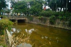 River sluices and river landscape Stock Photo