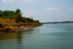 River and a small island. Cambodia. Udong. Royalty Free Stock Images