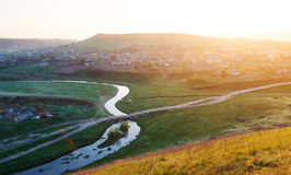 River and a small village in Moldova in spring Royalty Free Stock Image
