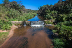 River Small Weir Water Vegatation Royalty Free Stock Photo