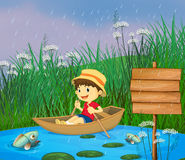 A river and a smiling boy in a boat. Illustration of a river and a smiling boy in a boat Royalty Free Stock Photography
