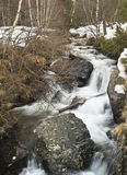 River in the Snow. River flowing on a snowy mountain Royalty Free Stock Photos