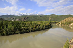 River and snow capped North Chuya ridge Stock Photography