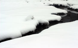 River with snow covered banks Royalty Free Stock Images
