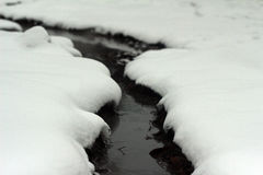 River with snow covered banks Royalty Free Stock Photo