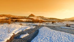 River with snow in december Stock Images