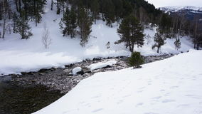 River in with snow. River in the middle of a mountain with snow Stock Photos
