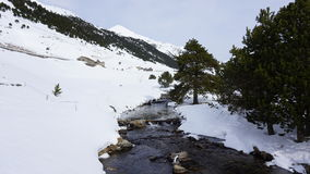 River in with snow. River in the middle of a mountain with snow Royalty Free Stock Photo