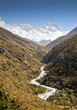 River and snow mountains in Nepal Himalayas Royalty Free Stock Photo