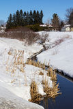 River in snow at spring landscape Stock Photos