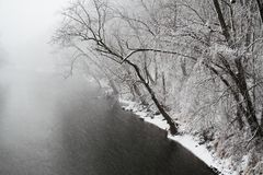River in Snow Storm Royalty Free Stock Photo