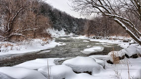 River at Snowy Day Photo Royalty Free Stock Image