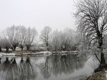 River and snowy winter trees, Lithuania Royalty Free Stock Photos