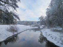 River and snowy winter trees, Lithuania Stock Image