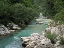 River Soca in Julian Alps Stock Photos