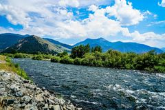 River in Southern Montana. The Madison River in Southern Montana as you enter Yellowstone National Park Stock Image