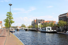 River Spaarne and lift-bridge, Haarlem, Holland Stock Photography