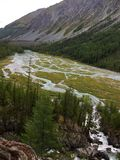 River spill. Mountain river valley. Blue Kucherla river in Belukha national park, Altai mountains, Siberia, Russia stock image
